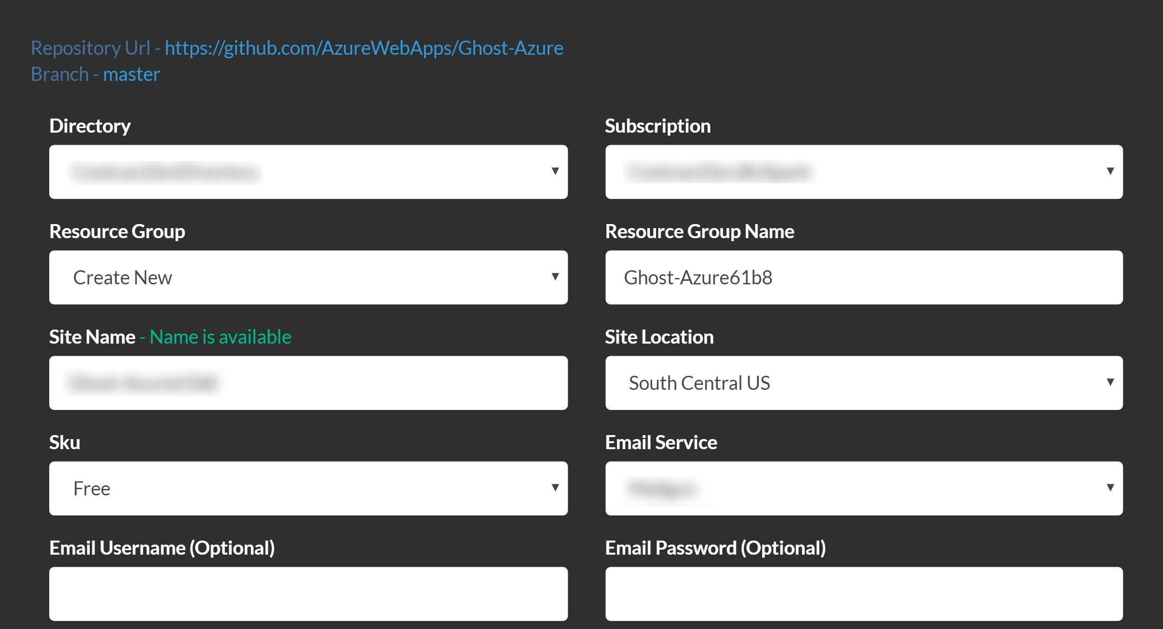 Deploy to Azure Ghost dialog