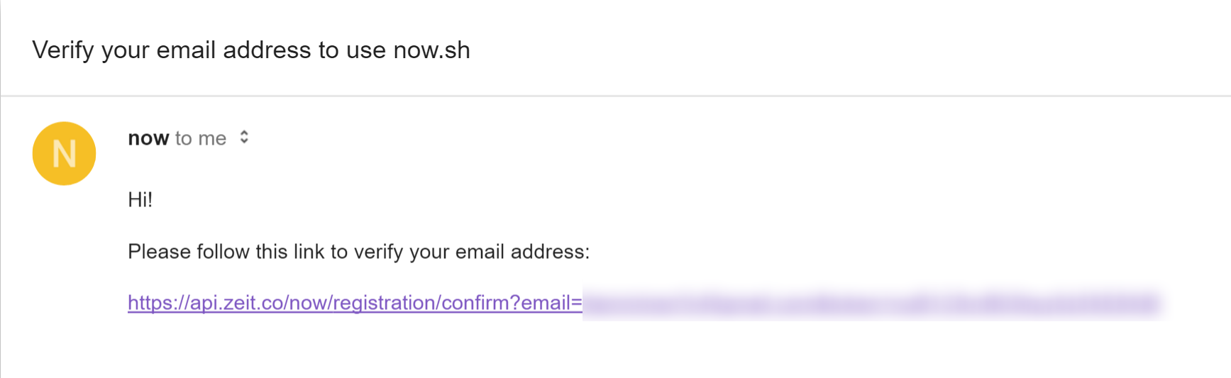 zeit - now: verification email