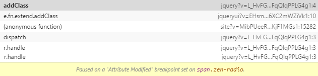 Chrome DevTools open and DOM element breakpoint triggered