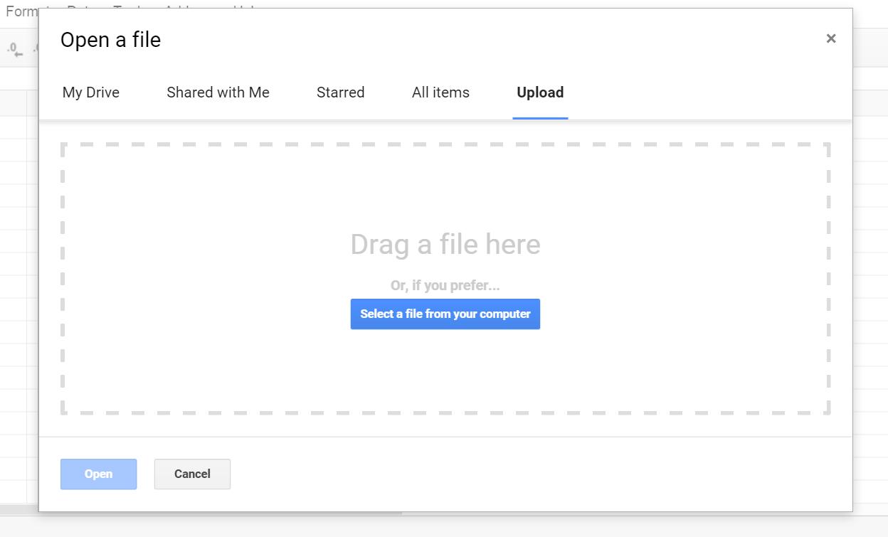 Google Spreadsheet Open dialog