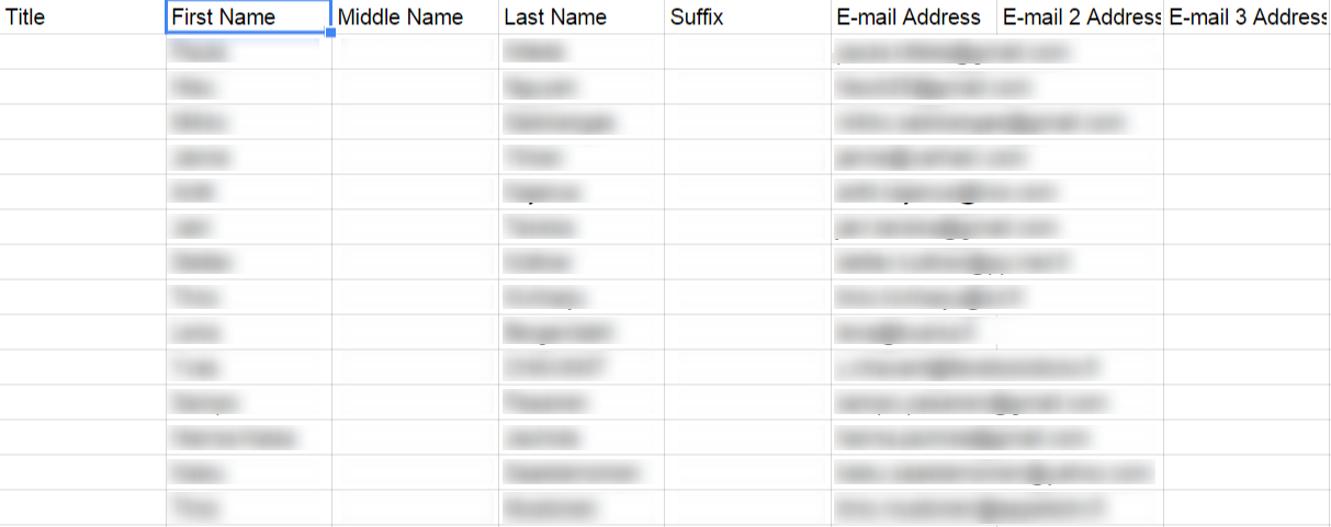 Contacts exported from LinkedIn to Google Spreadsheet