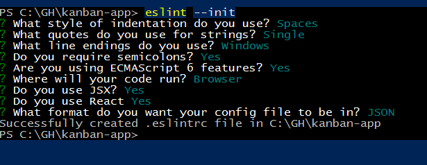 ESLint initialization process