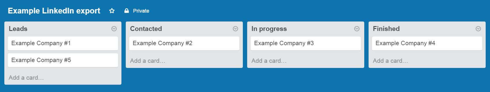 Example LinkedIn export in Trello
