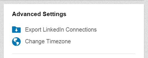 Advanced settings in the LinkedId page