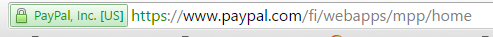 PayPal address bar with green lock and background color