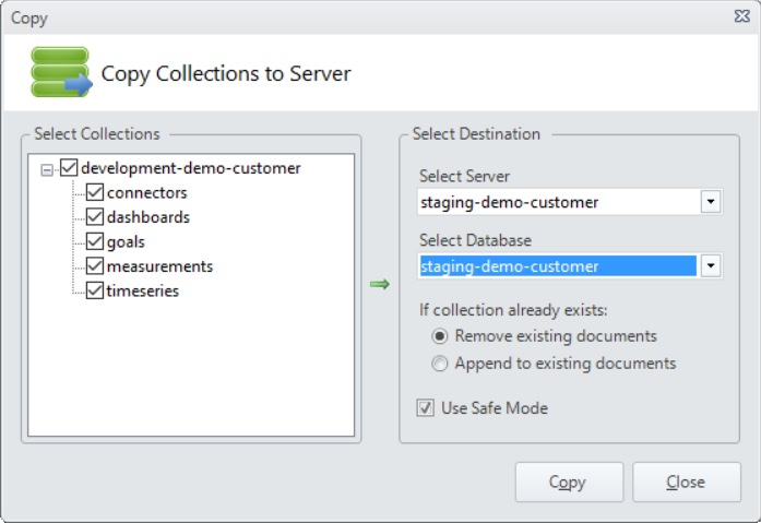 MongoVUE GUID with popup named Copy Collections to Server