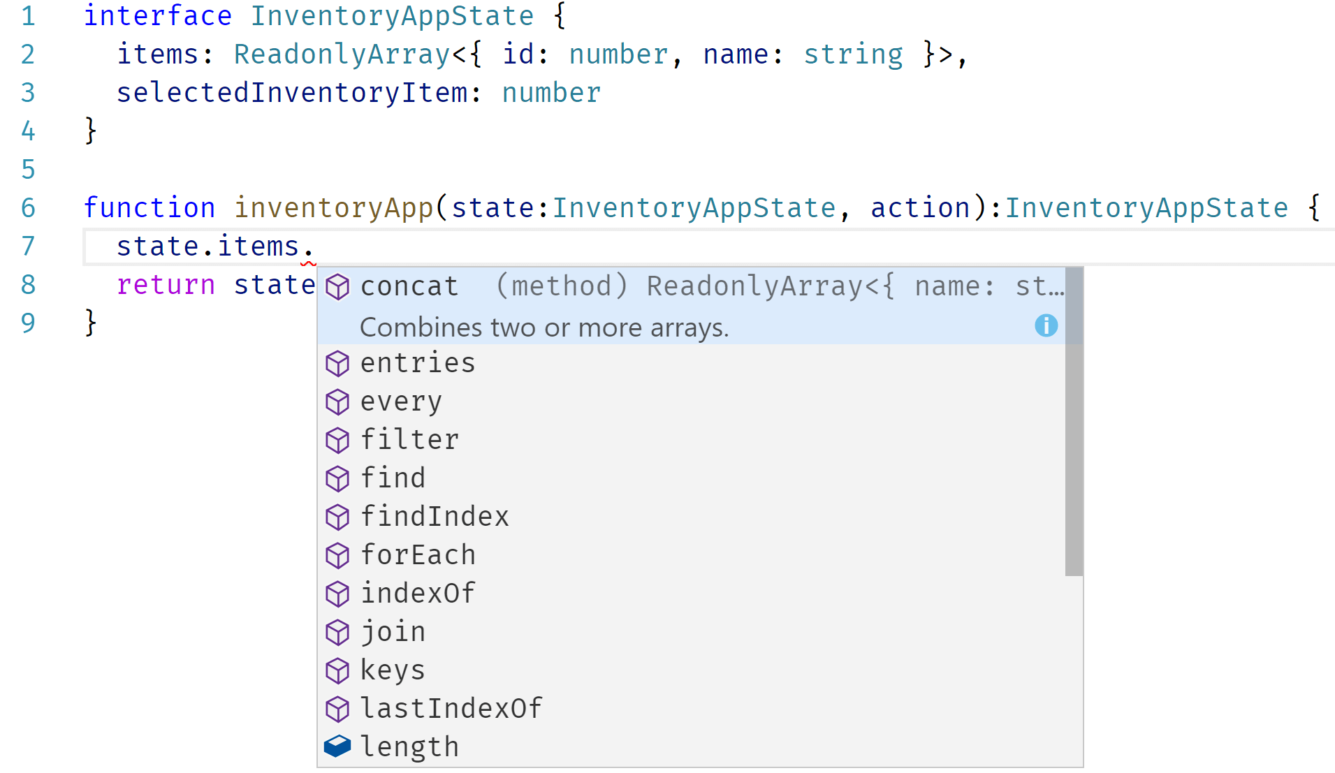 Visual Studio Code with React reducer source code. The editor showing benefits of the type system.