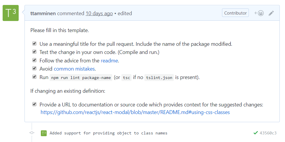 DefinitelyTyped checklist on pull request